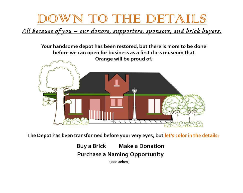 Orange Train Depot Museum Donation and Fundraising image of donation opportunities